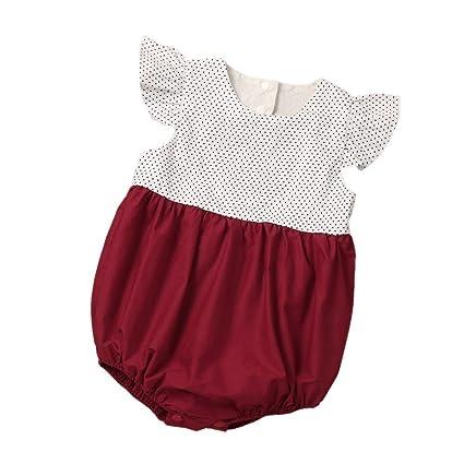 webla recién nacido Color Empalme lunares pelele mono para bebé niña rojo rosso Talla:12