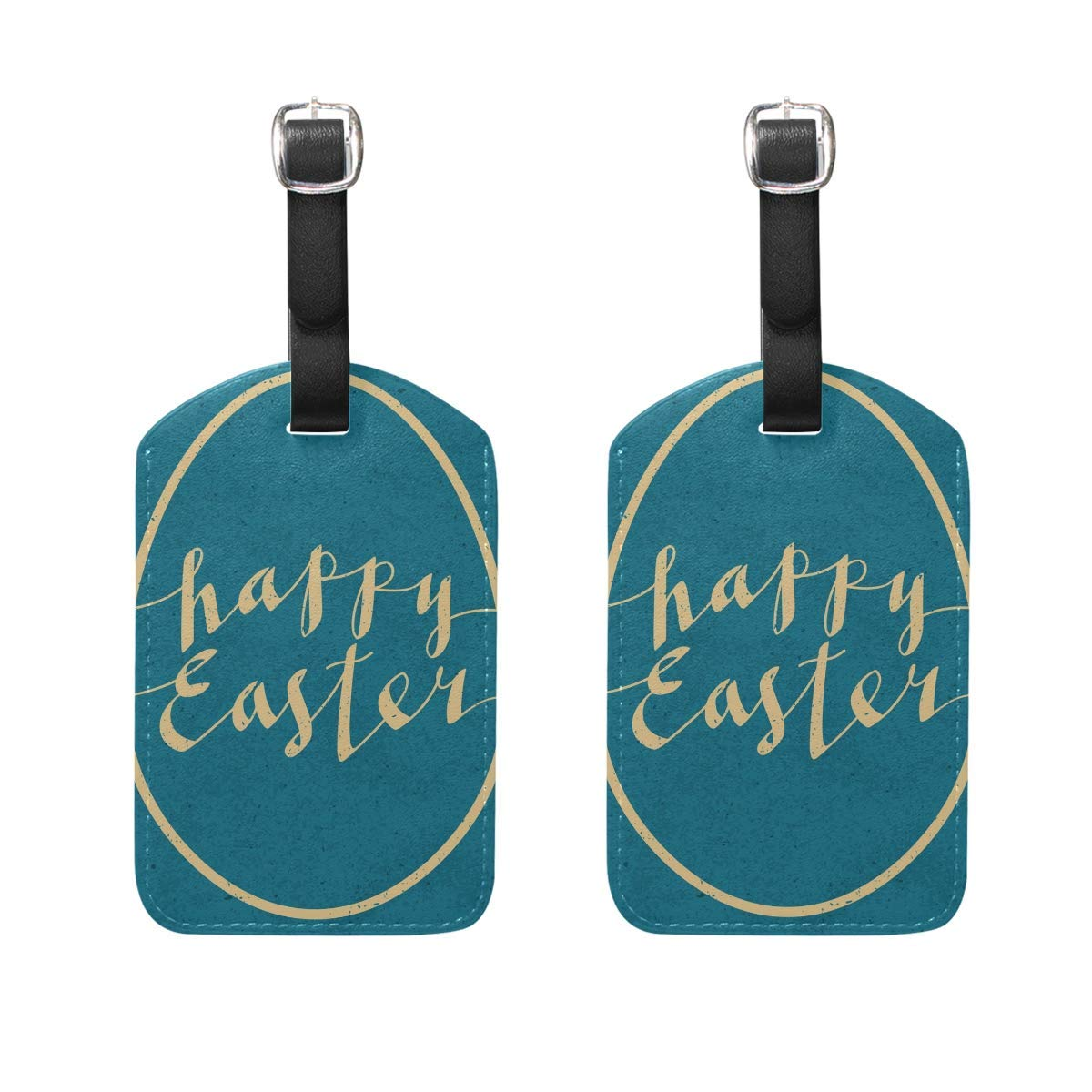 FunnyToiletLidCoverBB Easter Pattern Egg Bunny Rabbit Luggage Tag Women Men Personalized Kid Set of 2 Suitcase Label Travel ID Lady Handbag Tag with Buckle Leather