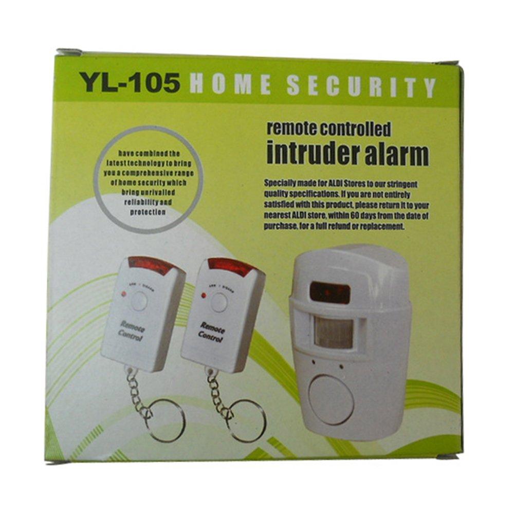 Alarma con sensor de movimiento con 2 llaves de control remoto, soporte de pared ajustable incluido (ideal para casetas, casas, garajes y caravanas): ...