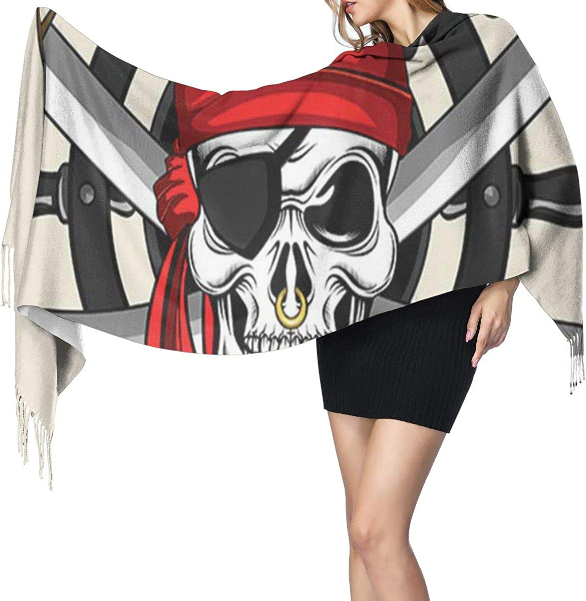 Fashion Lady Shawls,Comfortable Warm Winter Scarfs Soft Cashmere Scarf For Women Cap Black Caribbean Pirate Skull And Wheel Red Bandana