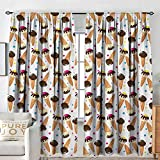 Petpany Blackout Curtains Ice Cream,Chocolate Covered Ice Cream with Colorful Little Dots Frozen Desert Waffle Cones,Multicolor,for Bedroom,Nursery,Living Room 54'x84'