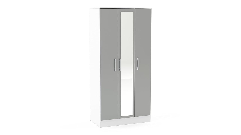 Birlea Lynx 3 Door Wardrobe With Mirror - High Gloss, White & Grey Birlea Furniture LYNWD3WTG
