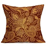Weiliru Modern BohemianCotton Embroidery Decorative Throw Pillow Cover for Couch Flower Pillowcase Cushion Cover 1PC,16.9×16.9Inch …