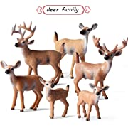 L.DONG 6 Pack Deer Figurines Cake Toppers, Forest Animals White-Tailed Deer Family Figurines, Woodland Creature Fawn Doe Buck Toys Home Party Decoration for Baby Shower&Birthday Party