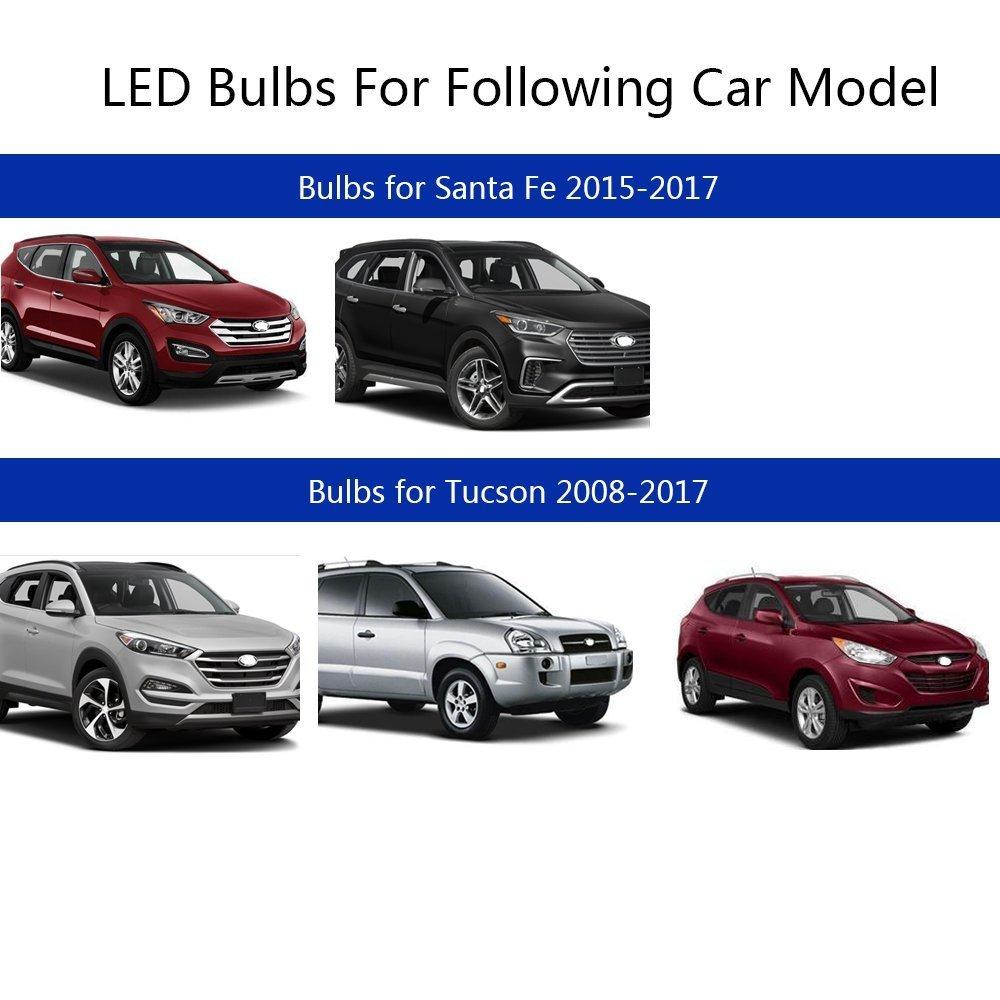 muchkey® para Hyundai Santa Fe Grand Santa Fe Tucson ix25 IX45 LED para interior de coche lámpara de bombillas de repuesto de luz Dome Mapa Luz brillante ...