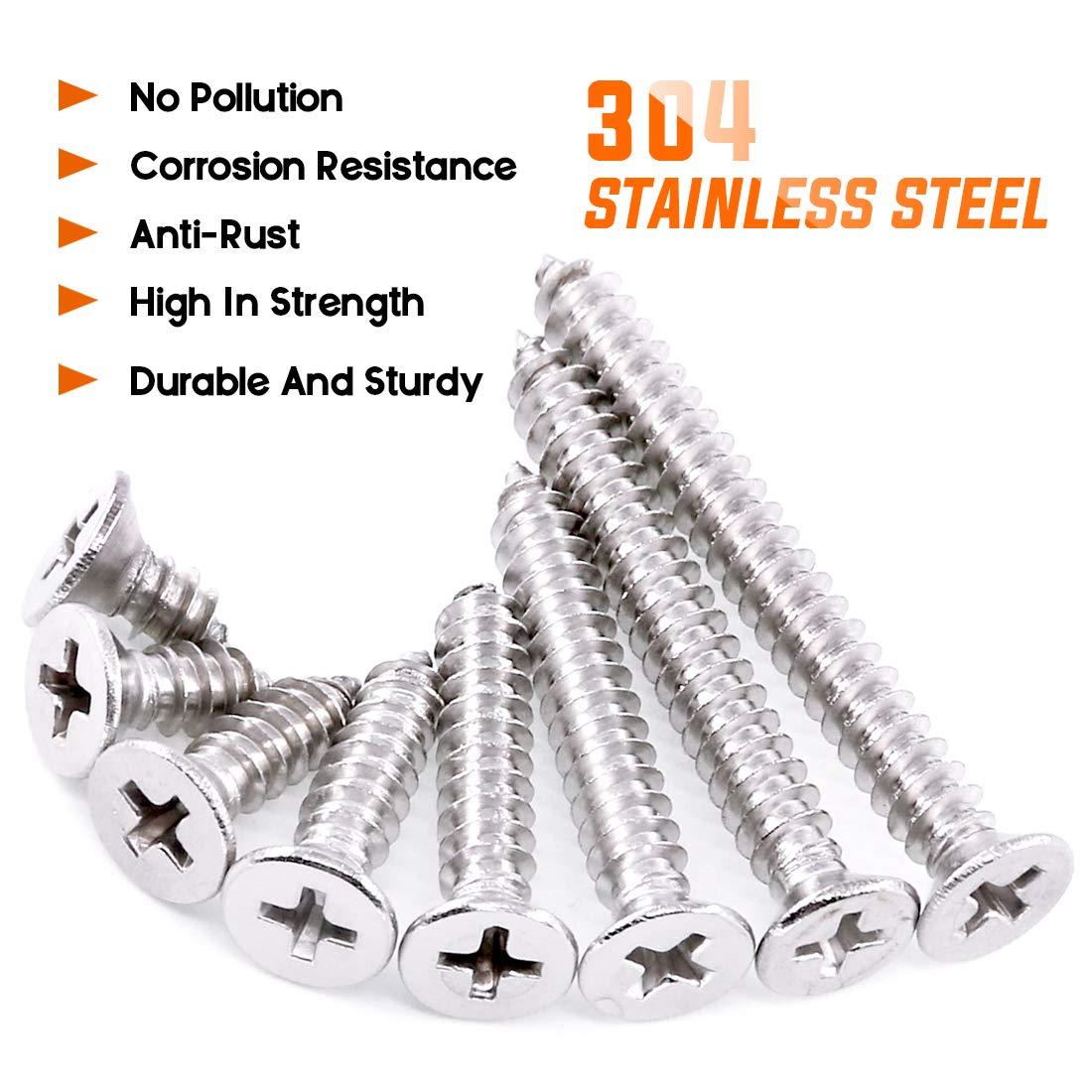 304 Stainless Steel Flat Head Phillips Cross Wood Screw Self Tapping Drilling Screws Assortment Kit Rustark 150Pcs #10 3//8 to 1-3//4