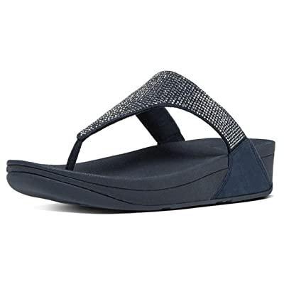 (Fitflop) Slinky Rokkit Navy Silver Womens Leather Sandals -7