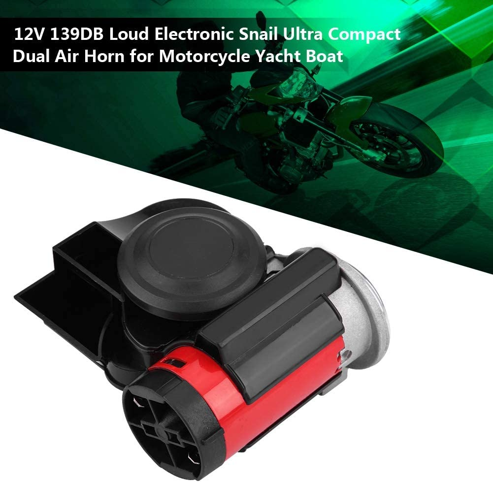 12V 139DB Loud Electronic Snail Ultra Compact Dual Air Horn for Motorcycle Yacht Boat Motorcycle Snail Horn