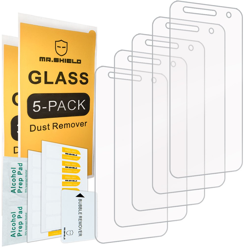 [5-Pack]- Mr.Shield for LG X Charge [Tempered Glass] Screen Protector [0.3mm Ultra Thin 9H Hardness 2.5D Round Edge] with Lifetime Replacement