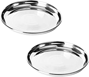 IndiaBigShop Stainless Steel Quarter Strip Design Pates, Dinner Plate, for Dinner Plate, Camping Outdoor Plate, Steel Plates, Indian Dinner Plates,Thali, Steel Round Plates Set of 2 -10.5 Inch