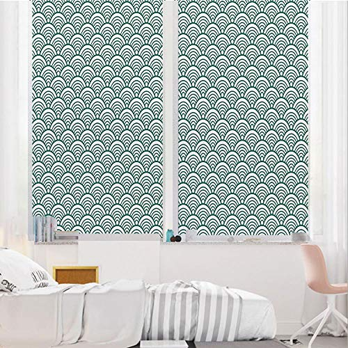 Teal 3D No Glue Static Decorative Privacy Window Films, Traditional Japanese Chinese Seigaiha Pattern Abstract Scales Asian Inspirations Decorative,24