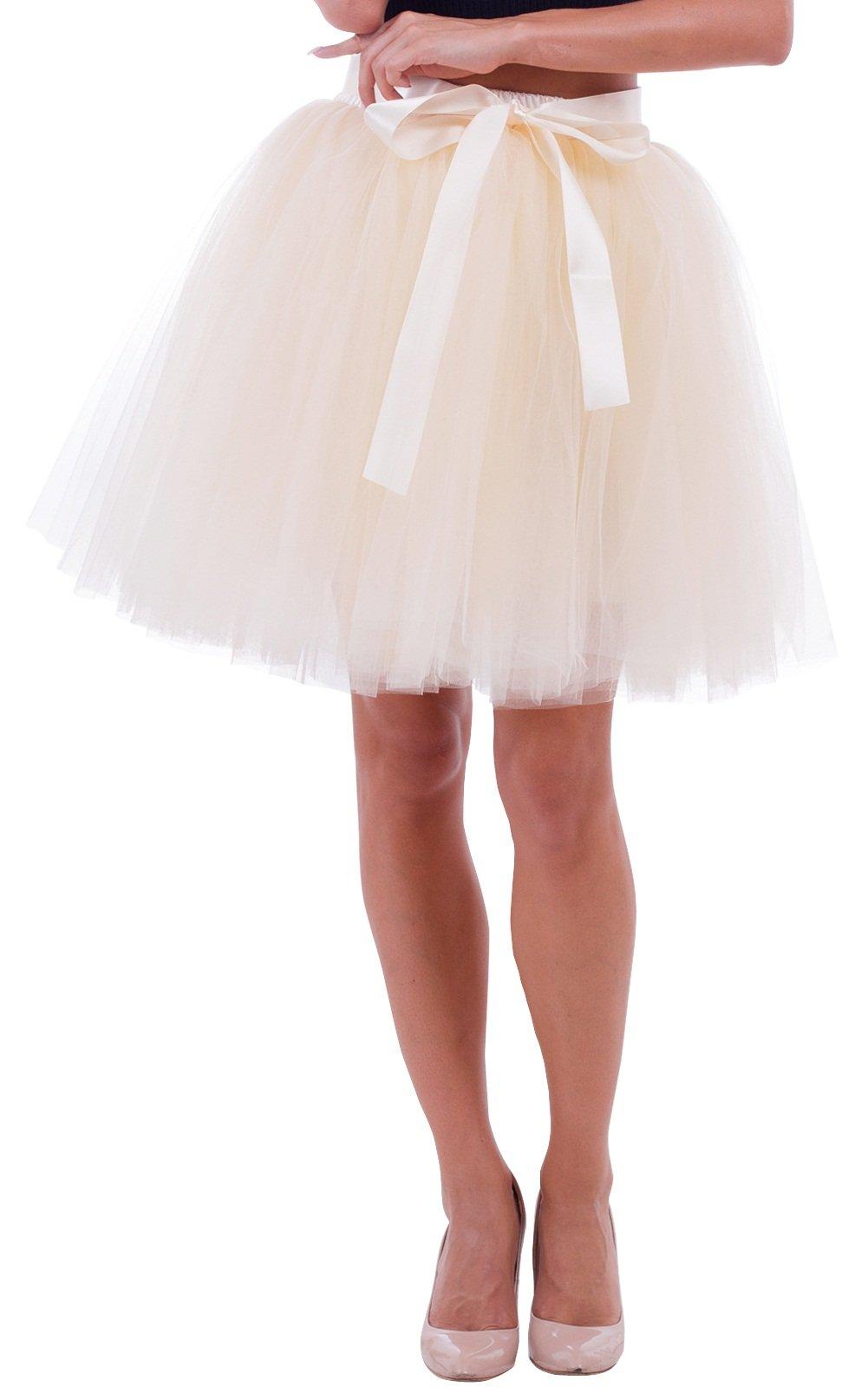 Duraplast Women's Above Knee Skirt Tutu Petticoat High Waist Tulle Beige