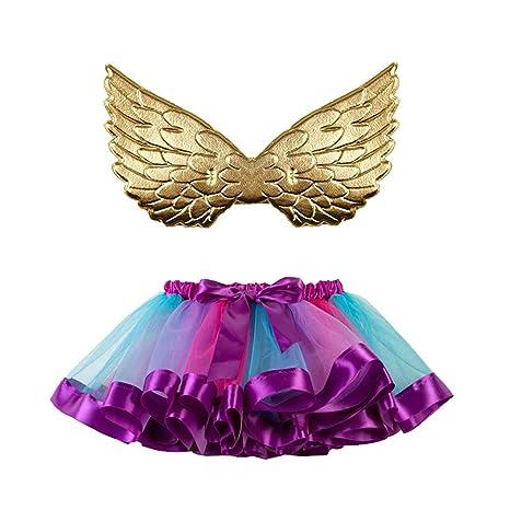FENIC Tutu de Arco Iris con alas de Oro Vestidos de Disfraz de ...