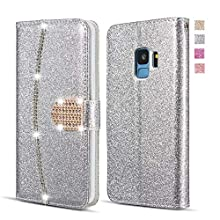 UEEBAI Wallet Flip Case for Samsung Galaxy S9, Premium Glitter Glossy PU Leather Case with Diamond Buckle [Card Slots] [Magnetic Clasp] Stand Function Rhinestone Strap Handbag TPU Cover - Silver