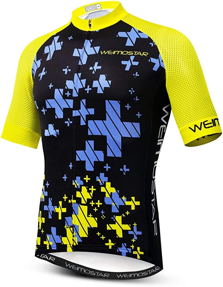 Mens Cycling Jersey Short Sleeve High Quality Breathable Bicycle Shirt Top U15
