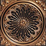 From Plain To Beautiful In Hours 238ag-24x24-25 Rose Window Ceiling Tile Antique Gold 25