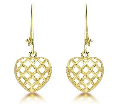 Carissima Gold Women's 9 ct Yellow Gold Heart Drop Earrings G4KMy