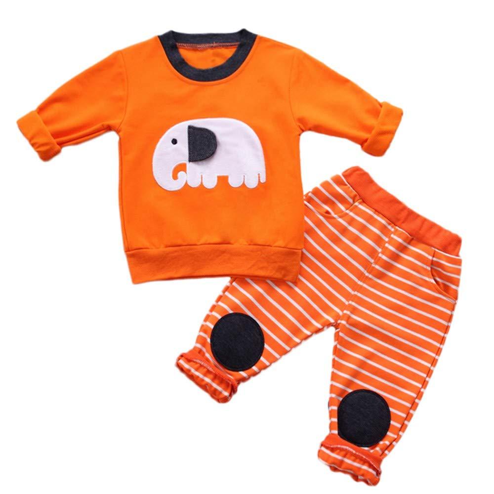 Chandal Niño, Ropa Bebe Niño Invierno, Niño Pequeño Niños Bebés Y Niñas Elefante De Dibujos Animados Tops Pantalones De Rayas Conjunto De Trajes YOYOGO