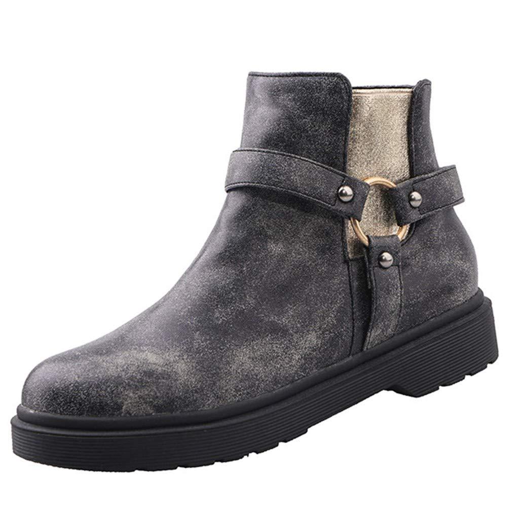 VonVonCo Women Marten Elastic Circle Metal Loop Flat Stylish Shoes Ankle Boots Black
