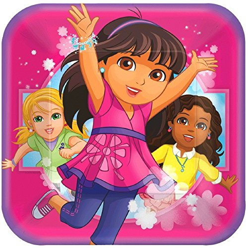 [Amscan Dora and Friends Square Lunch Plates] (Dora Costume For Kids)