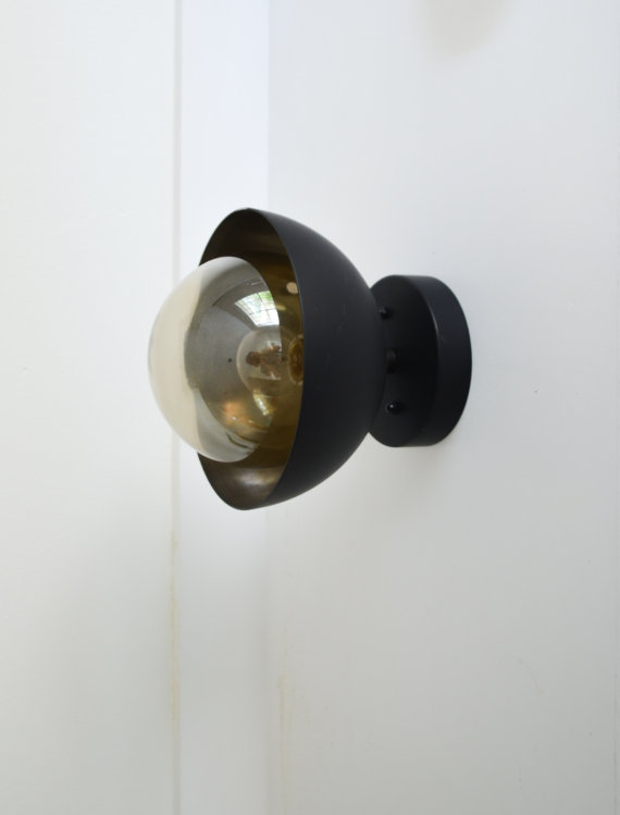 Flush Mount modern matte black light dome with by TripleSevenHome