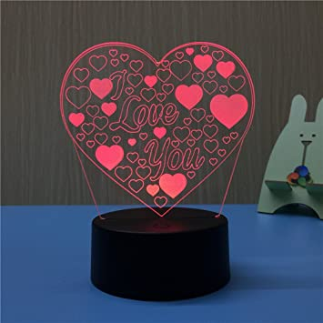 Amazon ledmomo 3d lamp illusion night light i love u heart 7 ledmomo 3d lamp illusion night light i love u heart 7 colors changing decorative desk lamp thecheapjerseys Gallery