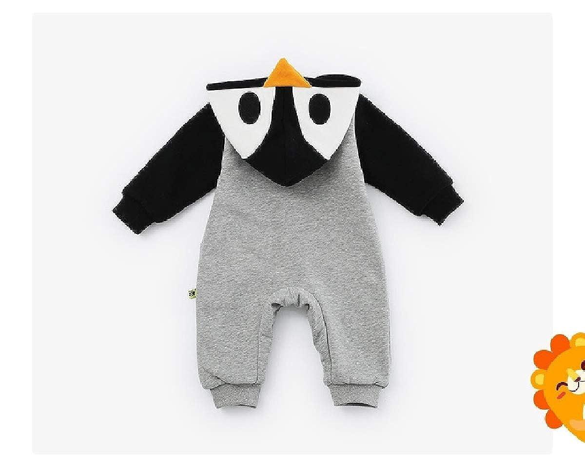 YUNY Newborn Baby Animal Cartoon Fall Winter Pants Romper Playsuit Black 66