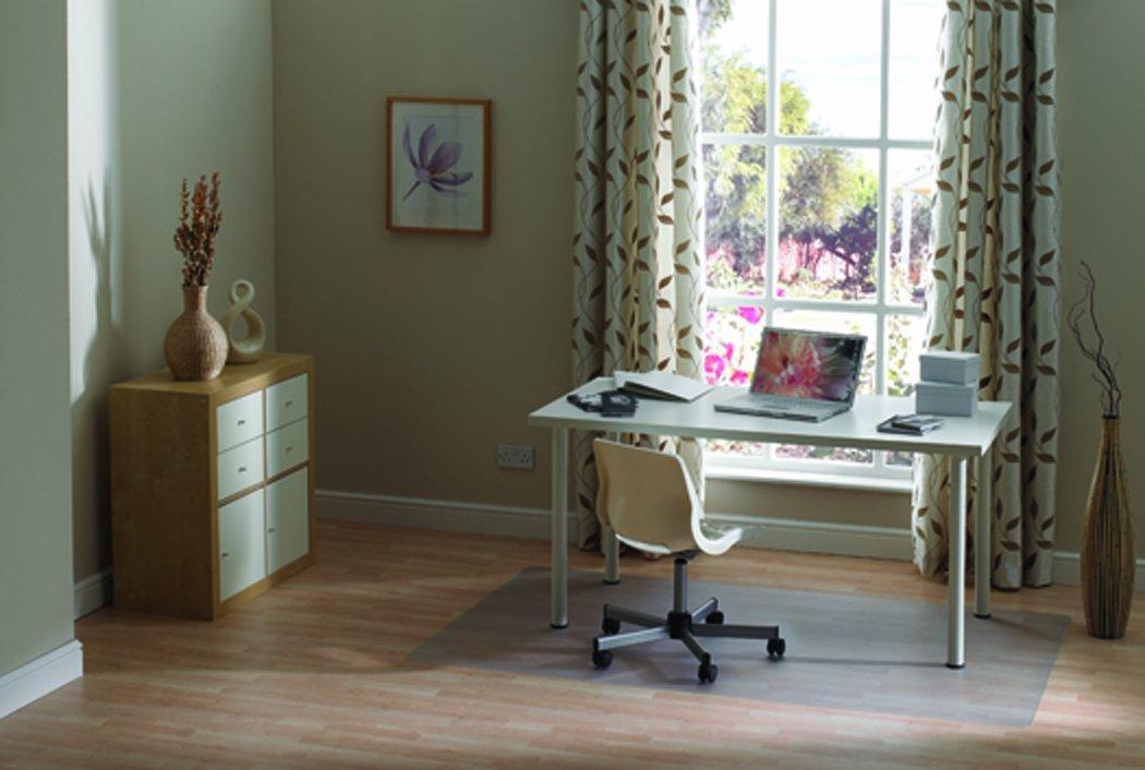FC129017EV Clear Rectangular Floortex Valuemat PVC Chair Mat for Hard Floors//Carpet Tiles 120cm x 90cm