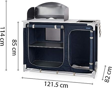 CAMPART Travel Cocina de camping Alicante, Con paravientos, Espacio para bombona de gas, 2 puertas, Azul (Blau) KI-0753