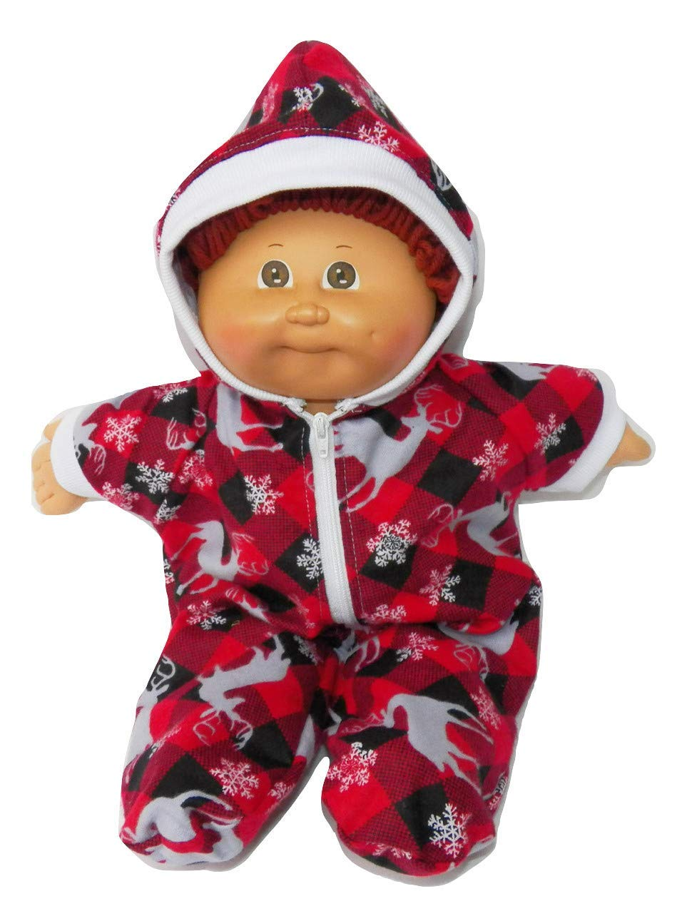 Cabbage Patch Doll Clothes Fits 14 Boy or Girl Hooded Christmas Lights Pajamas