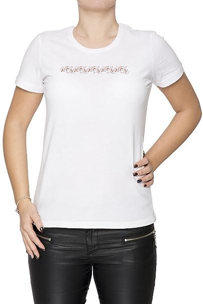 Flores rosadas amarillas rojas Mujer Camiseta Cuello Redondo Blanco Manga Corta Tamaño S Womens T-