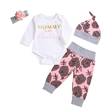 f352fefb5e2 Amazon.com  4PCs Baby Girl Clothes Long Sleeves Letter Print Romper Floral  Bodysuit Pants Hat Headband Clothing Outfit Set  Clothing