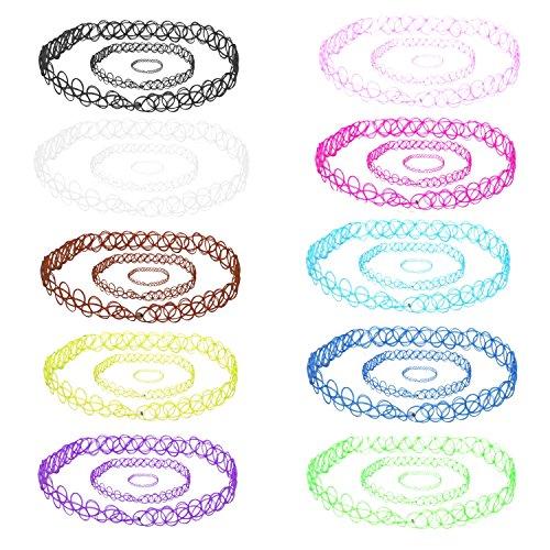 BodyJ4You 30PC Choker Necklace Bracelet Ring Set Colorful Mix Stretch Elastic Jewelry Girls Kids Gift