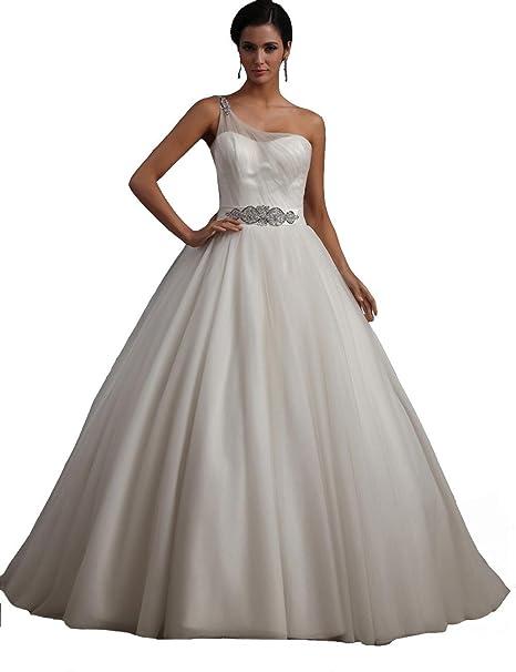 winey novia mujer rollo de tul de novia (One-Shoulder Bling barato vestidos de novia: Amazon.es: Ropa y accesorios