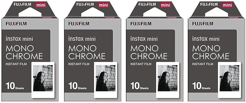 Fujifilm Instax Mini Instant Film Monochrome 4 PACK BUNDLE SET , Mono chrome   10 x 4 = 40   # 337556 + Original Cleaning Cloth + Stickers 20 pcs. for