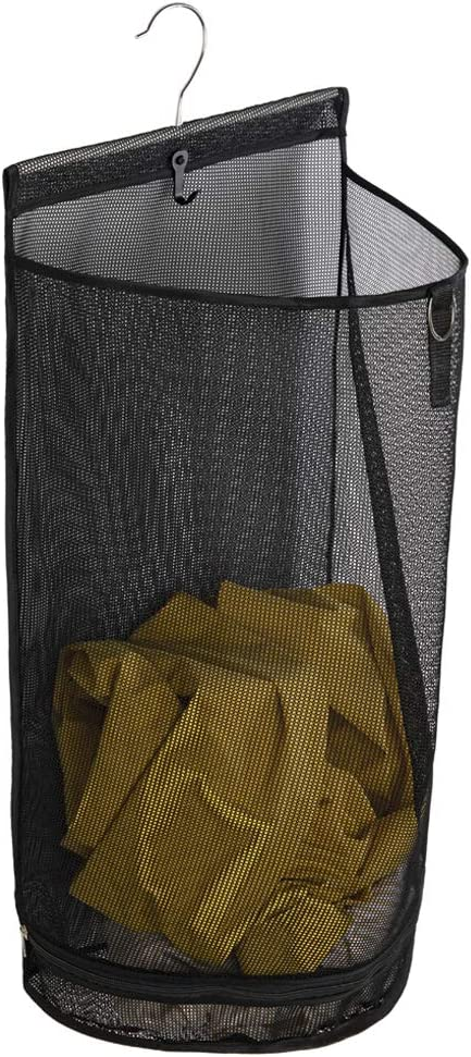 ALYER Hanging Semi Round Storage Mesh Bag,Collapsible Laundry Hamper Basket with Durable Hanger (Black)