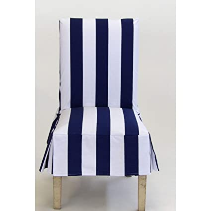 Classic Slipcovers Cabana Stripe Short Dining Chair Covers Set of 2 Navy  and White Stripe