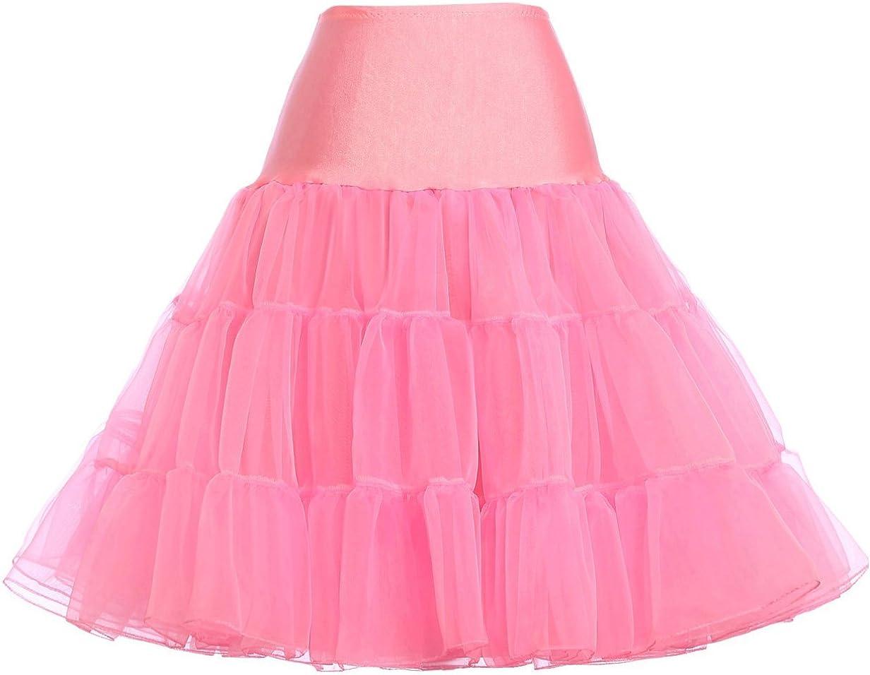 GRACE KARIN 50s Retro Petticoat Vintage Knee Length Crinoline Underskirts Half Slips 12Colors S-Plus 4X