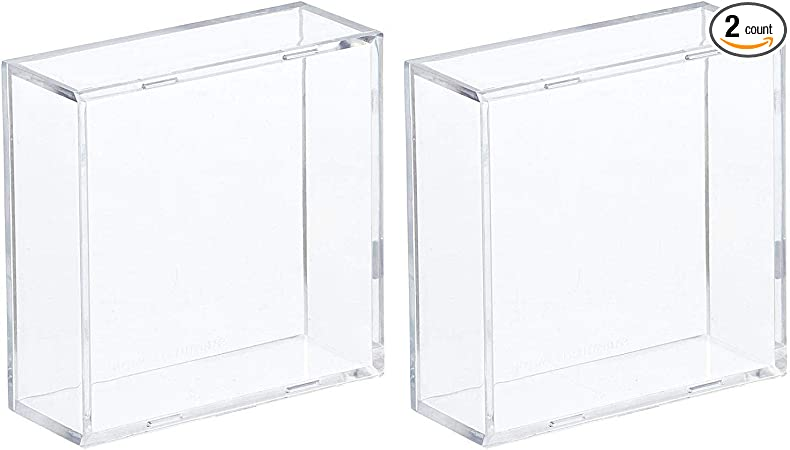 BCW 2-Piece Snap Design Hockey Puck Holder, Clear, 2-Pack