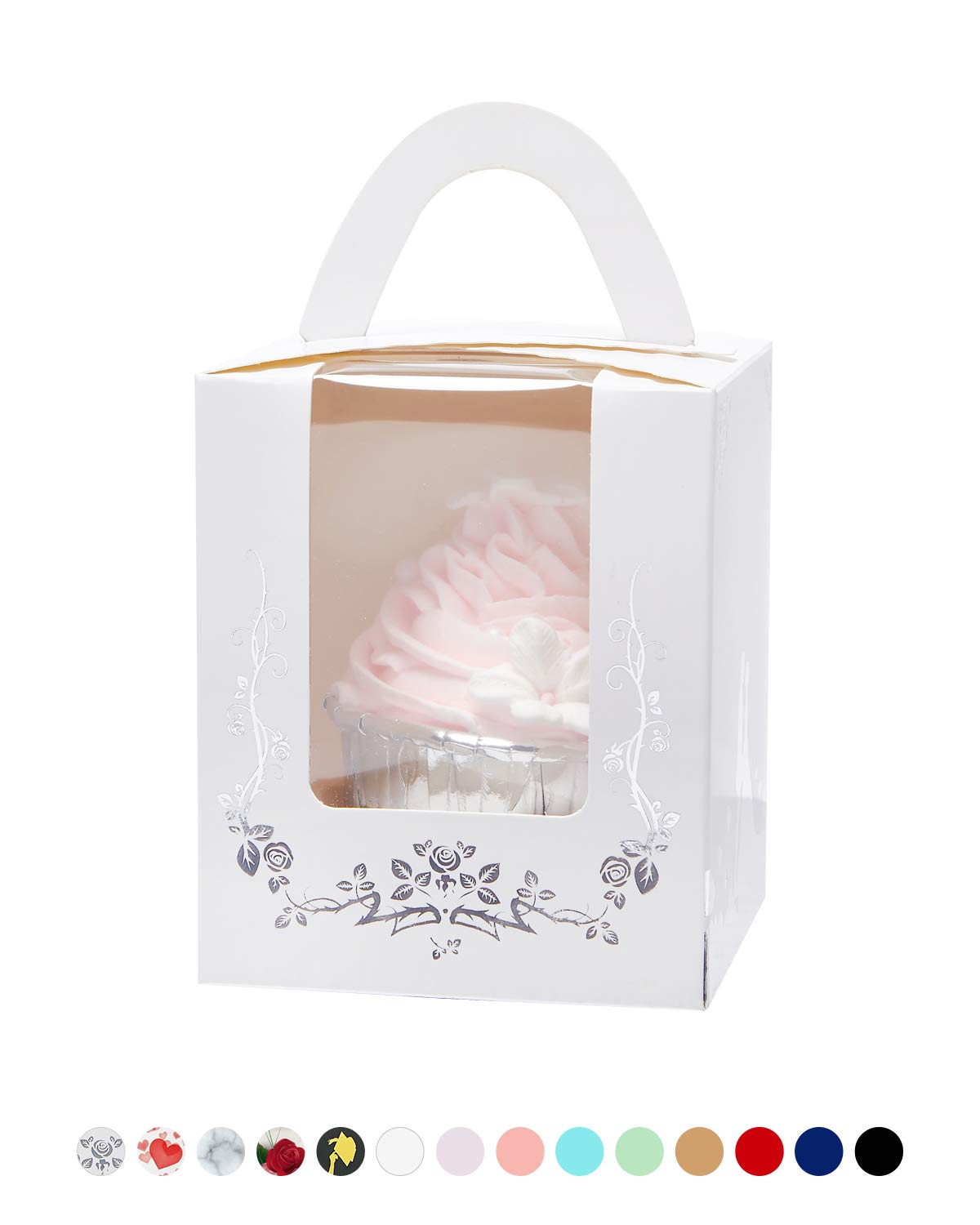 Yotruth Bride and Bridegroom Wedding Cupcake Boxes with Cake White and Silver Stamping for Wedding Favors 50 Sets (Choice Series) by yotruth