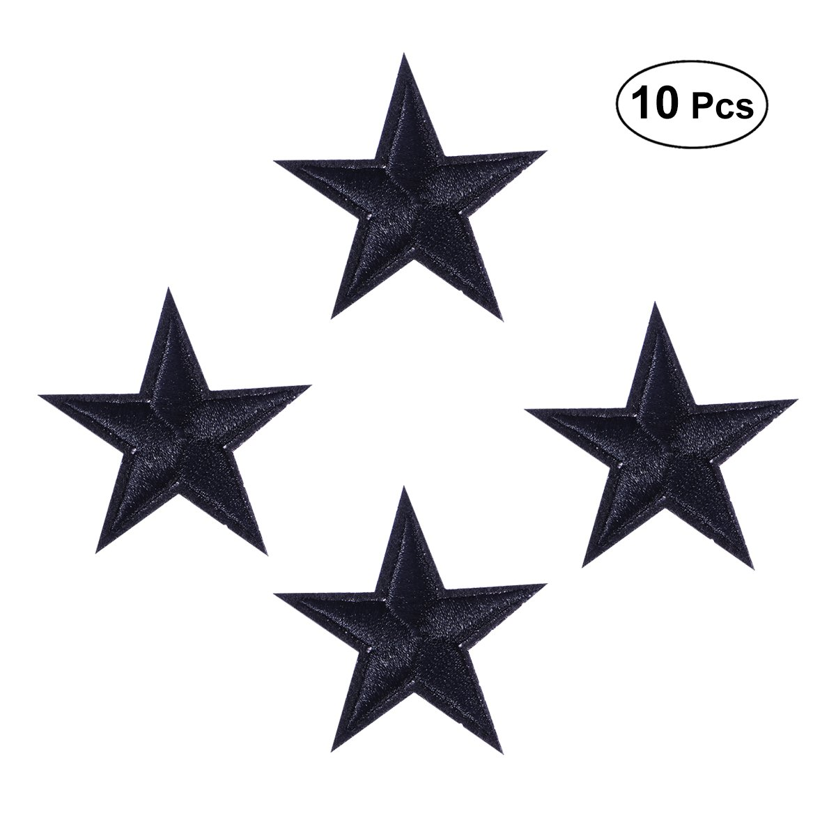 ULTNICE Star Embroidered Patches Iron On Applique Decorative Clothes Badge Black 10pcs