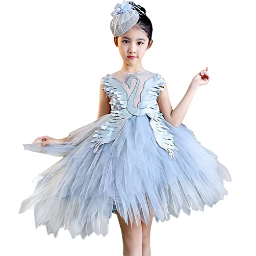 99778a67b6b5 Amazon.com  IMEKIS Girl Swan Princess Feather Ruffle Tutu Dress ...