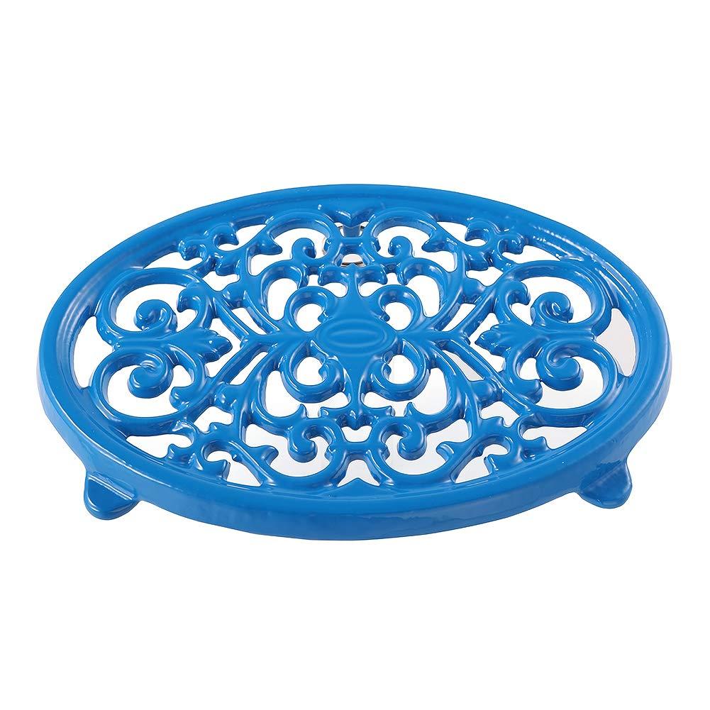 Round Cast Iron Trivet Royal Blue Trivet Mats Metal Trivets for Kitchen Dining Table Oval Shape