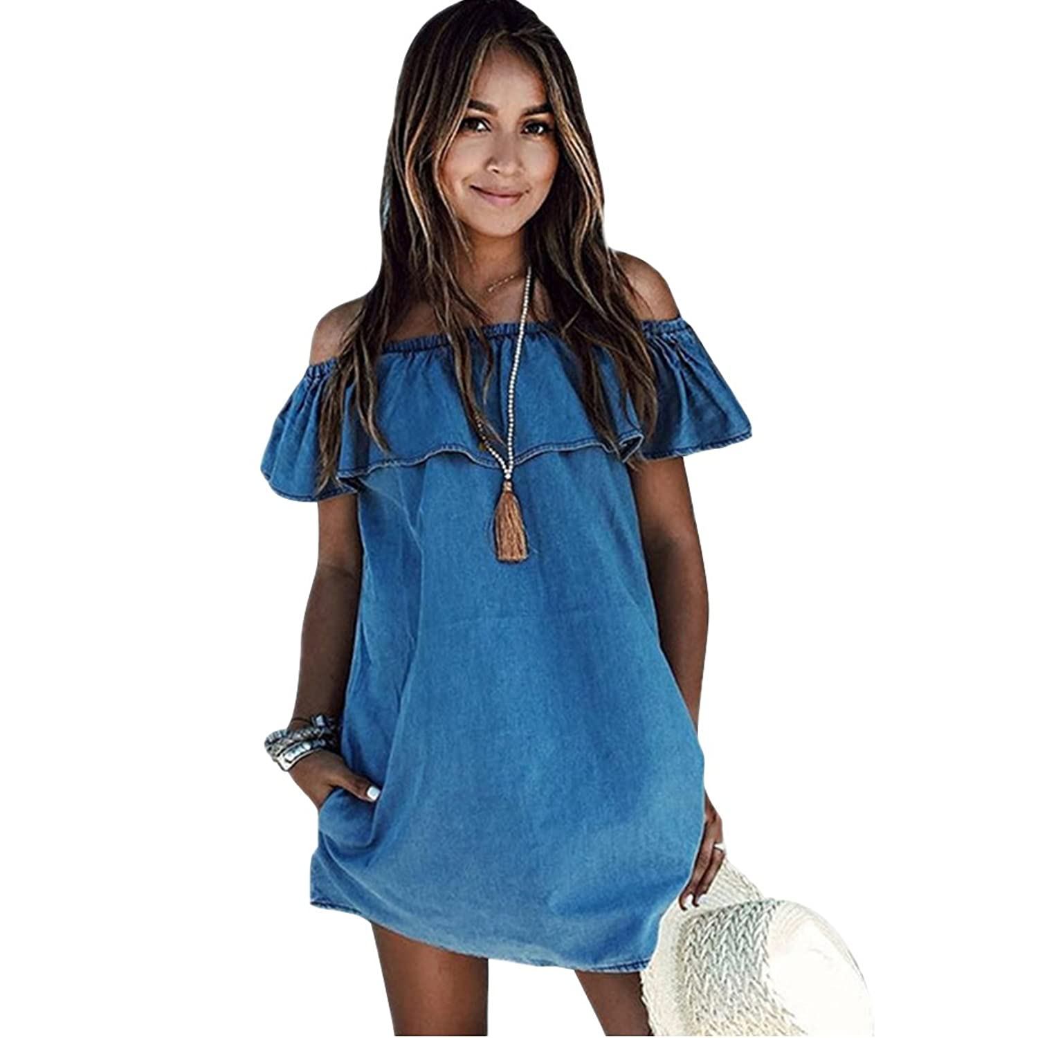 Milumia Women&39s Off Shoulder Ruffles Shift Loose Dress at Amazon ...