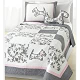 2pc Adorable Girls Pink Grey White Twin Quilt Set, Scottie Dog Themed Bedding Animal Patchwork Floral Flower Sweet Pup Modern Shabby Chic Fun Terrier Puppy Cute Casual Stylish, Cotton