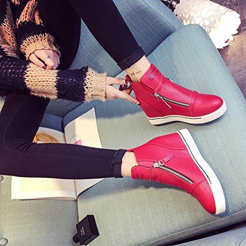 Sneakers Alte Da Donna Con Zeppa Alta - Scarpe Da Stivale Con Tacco Nascoste A Punta Tonda Più Alte Rosse
