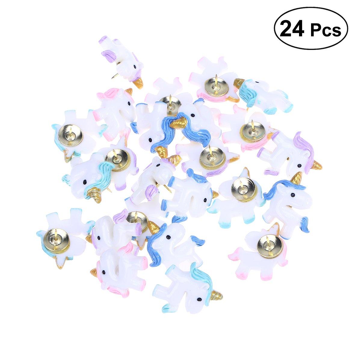 TOYMYTOY 24 Pezzi Unicorno puntine da disegno 4 Colori per marcatura perfetta su cartine, mappe, lavagne