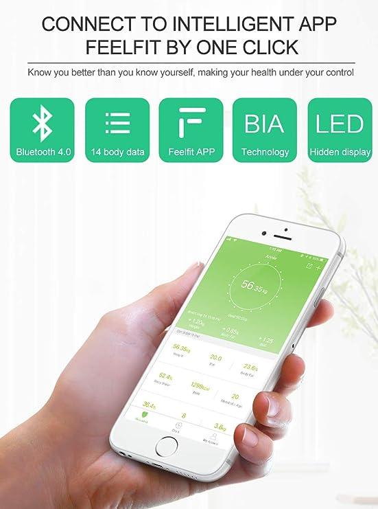 ZHESHEN Báscula Grasa Corporal Báscula De Baño Inteligente, Analizar De 14 Funciones, Medidora Composición Bluetooth para Móviles Andriod Y iOS (Blanco): ...