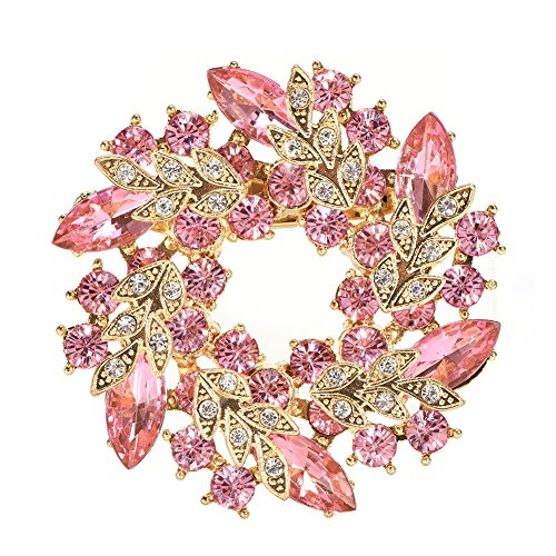 (ZJchao Brooch Pins, Circle Flower Crystal Rhinestone Brooch Pin Vintage Fancy Flower Leaf Imitation Crystal Brooches and Pins for Women Female (Pink))