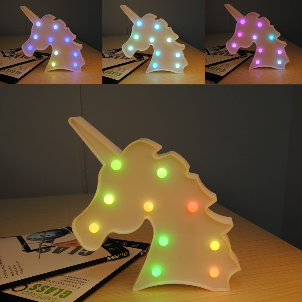 Unicorn Light Unicorn Party Supplies Kids Unicorn Colorful Unicorn Lamp Battery Operated Unicorn Table Decorations for Wall Decoration,Kids' Room,Living Room,Bedroom (Colorful Unicorn) by KiBlue (Image #2)
